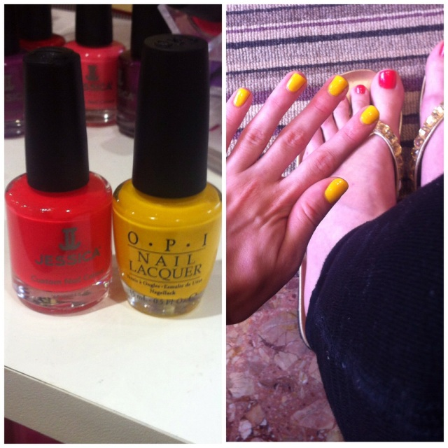 coral pedicure yellow manicure